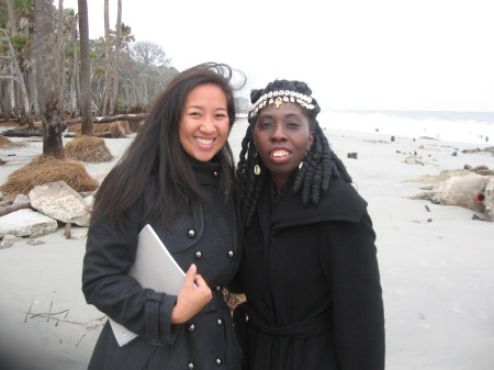 "Producer Chen and Queen Quet, Chieftess of the Gullah/Geechee Nation stand at the shore of the Atlantic Ocean during the CNN International ""Inside Africa"" shoot."